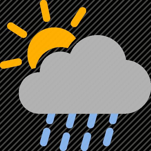 Cloud, Rain, Raining, Shower, Sun, Sunny, Weather Icon