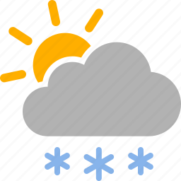 cloud, cloudy, snow, snowing, sun, sunny, weather icon