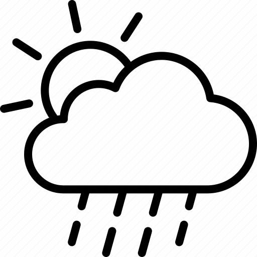 drizzle, rain, raining, shower, sun, sunshower, weather icon