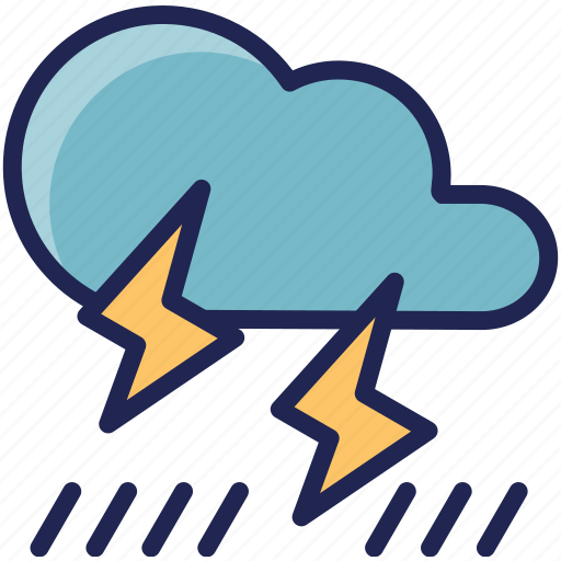 forecast, heavy, rain, rainy, thunder, weather icon