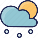 cloud, cold, forecast, snowflake, snowy, sun, weather icon