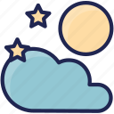 cloud, forecast, full, moon, season, weather icon