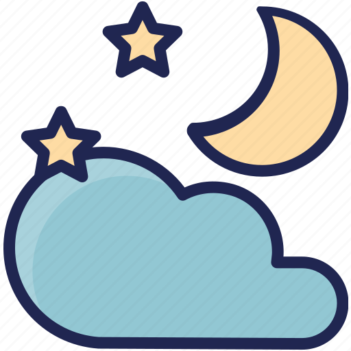 cloud, forecast, moon, season, sky, weather icon