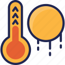 forecast, hot, summer, sun, sunny, thermometer, weather icon