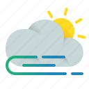 afternoon, cloud, wind, windy icon