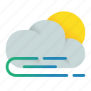 airy, cloud, element, morning, weather, wind, windy icon