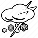 clouds, lightning, snow, snow shower, snowflake, snowing, storm icon