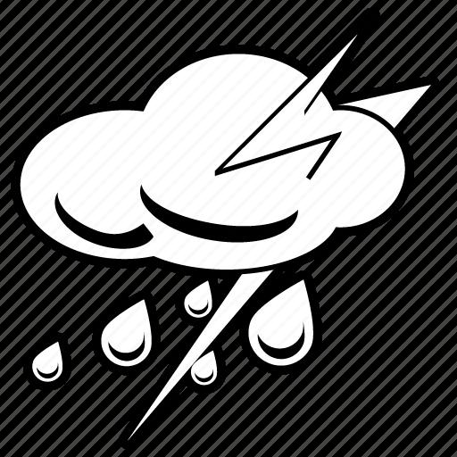 heavy rain, lightning, rain, storm, thunder, thunder clouds, thunderstorm icon