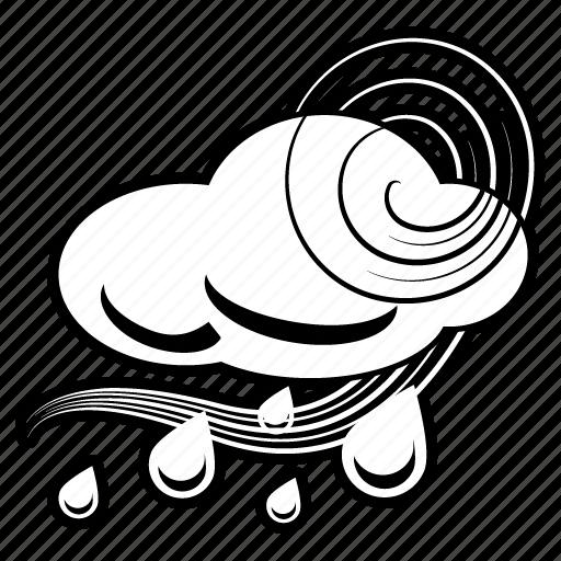 cloud, forecast, rain, rainy, storm, weather, windy icon