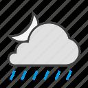 cloud, cloudy, forcast, moon, night, rain, weather