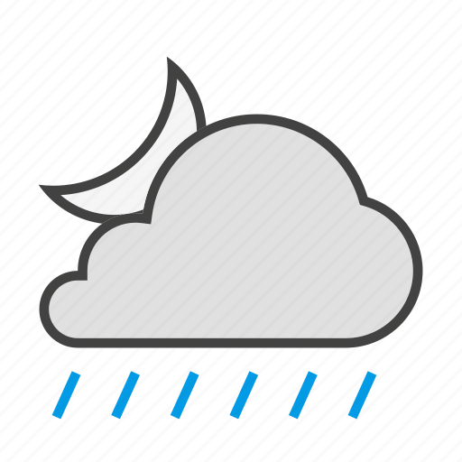 cloud, cloudy, forcast, moon, night, rain, weather icon
