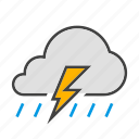 cloud, cloudy, forcast, rain, thunder, weather icon
