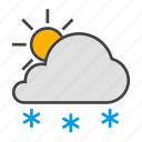 cloud, cloudy, forcast, snow, sun, weather icon