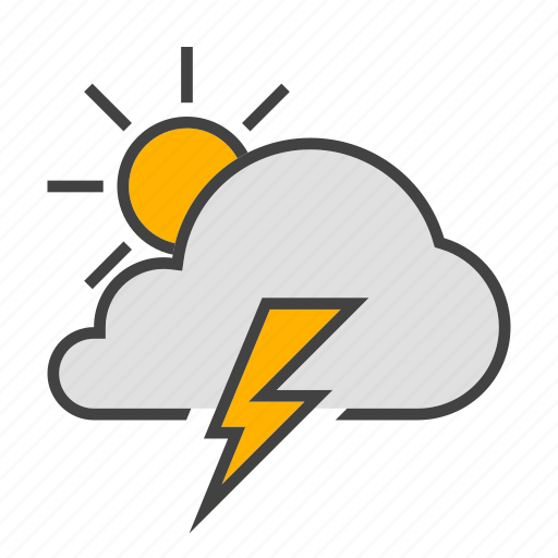 cloud, cloudy, forcast, sun, thunder, weather icon