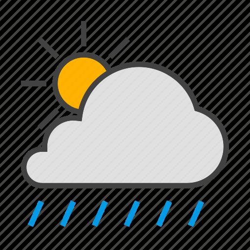 cloud, cloudy, forcast, rain, sun, weather icon