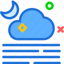 fog, moon, night, stars icon