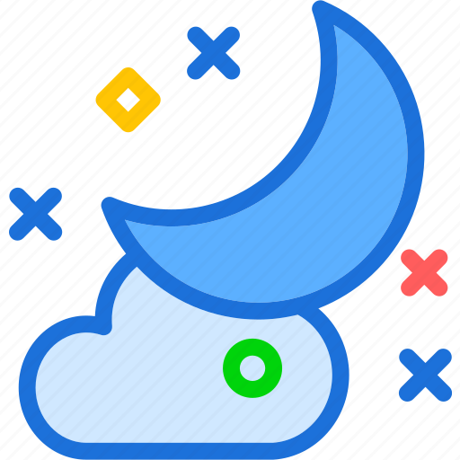 clouds, night, stars, weather icon