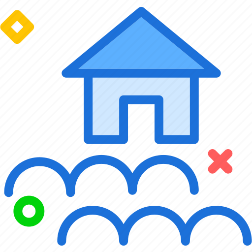 catastrophic, danger, flood, home, house icon