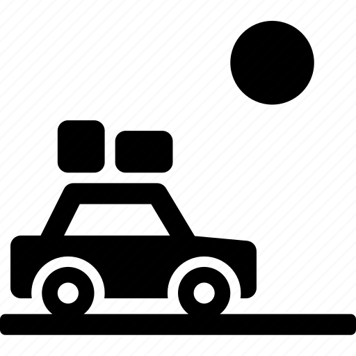 car, drive, landscape, roadtrip, sun, travel icon