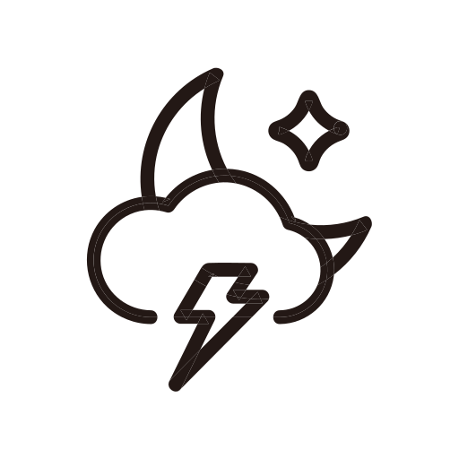 lightening, moon, night, storm, thunder, weather icon