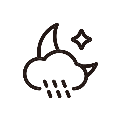moon, night, rain, raining, weather icon