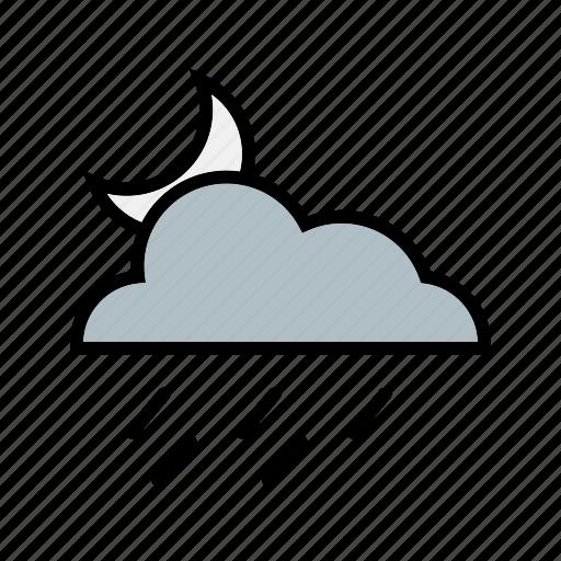 cloud, cloudy, moon, night, nightrain, weather icon
