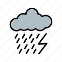 cloud, dark ray, lightning, rain icon