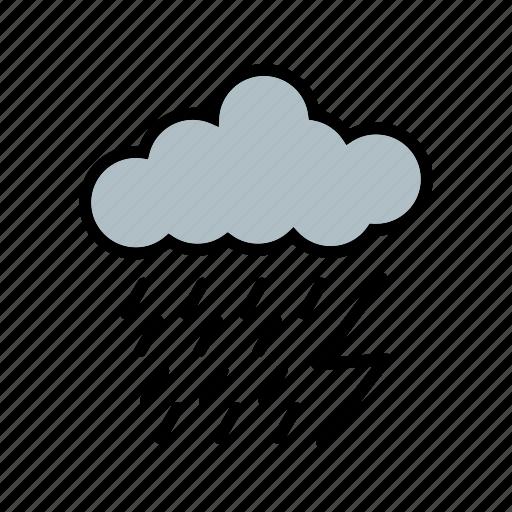 dark ray, lightning, rain icon