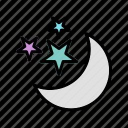moon, moon and stars, stars icon