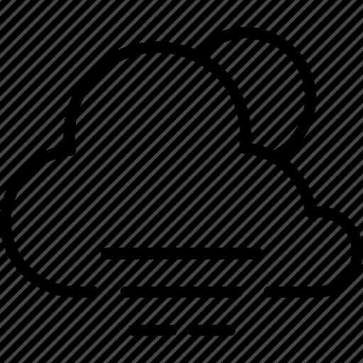 cloudy, fog, forecast, moon, night, rain, weather icon