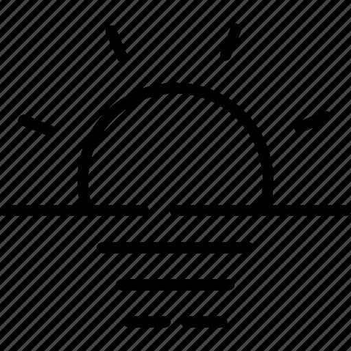 fog, forecast, haze, horizon, sun, weather icon