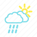 cloudy, rain, sun, weather icon