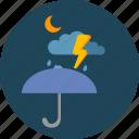 cloud, moon, night, storm, umbrella