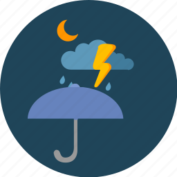 cloud, moon, night, storm, umbrella icon