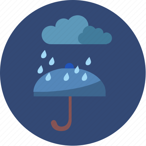 cloud, night, rain, umbrella, weather icon