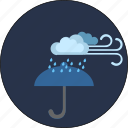 cloud, night, storm, umbrella, weather, wind icon