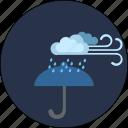 cloud, night, storm, umbrella, weather, wind
