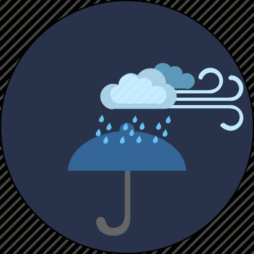 cloud, night, storm, umbrella, weather, wind icon
