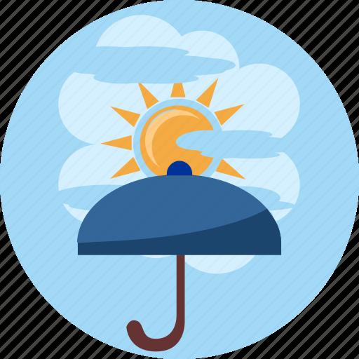 cloud, day, ray, safety, sun, sunshine, umbrella icon