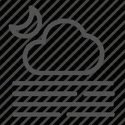 cloud, fog, heat, hot, moon icon