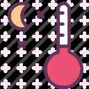 celsius, cold, heat, moon, night, stars, temperature icon