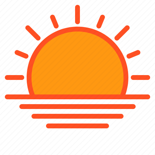 cloud, sunset, temperature, weather icon