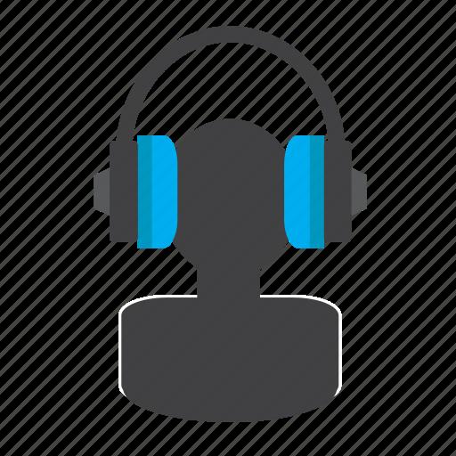 audio, headphones, listening, man, music, phones icon