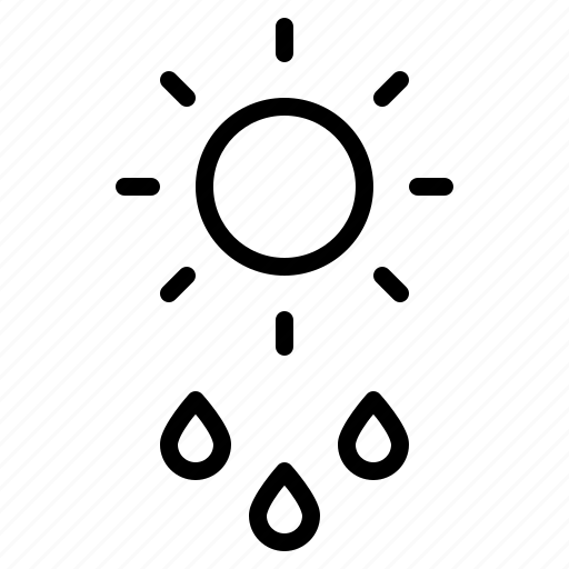 day, daytime, drizzle, drops, rain, rainfall, sun icon