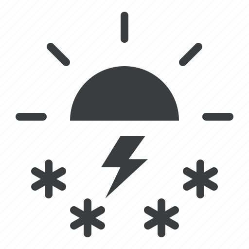 day, daytime, forecast, snow, storm, sun, weather icon