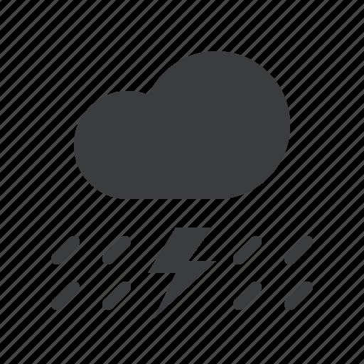 cloud, cloudy, forecast, lightning, rain, rainfall, thunder icon