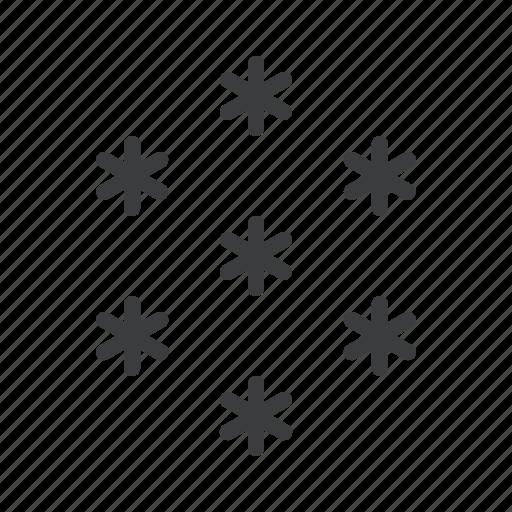 cold, forecast, snow, snowfall, snowflake, star, weather icon
