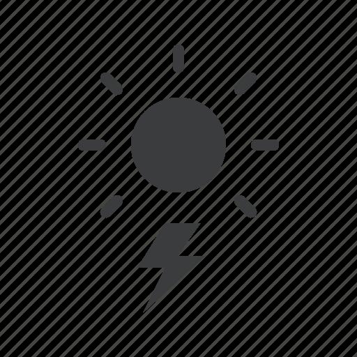 day, daytime, forecast, lightning, storm, sun, thunder icon