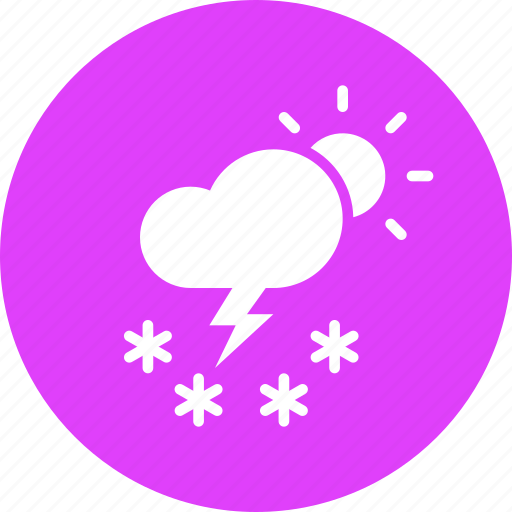 cloud, day, daytime, forecast, snow, storm, sun icon