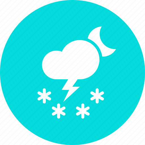 cloud, forecast, moon, night, snow, storm, thunder icon